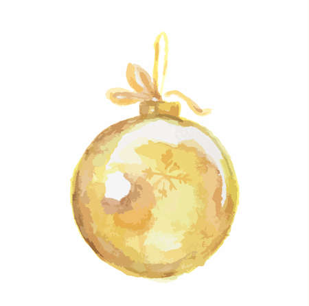 snow chain: Watercolor vintage christmas toy on white background. Decoration for christmas tree.