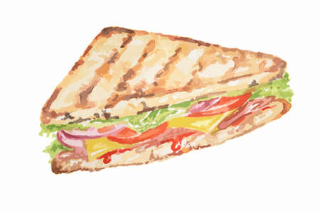 ham sandwich: Isolated watercolor sandwich on white background. Tasty and nutricious snack with vegetables and ham. Lunch time.