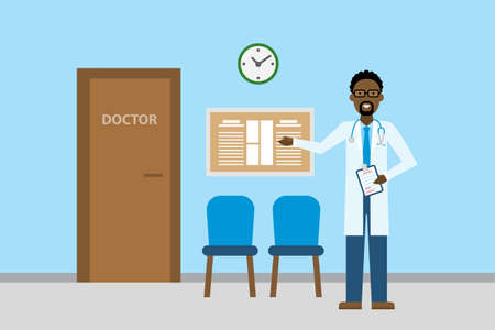 Doctor in waiting room. Handsome smiling african american man in white standing in waiting room. Hospital interior with chairs and health care information. Illustration