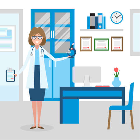 medical treatment: Doctor in the cabinet. Funny smiling female doctor in the medical cabinet. Medical treatment, first aid.