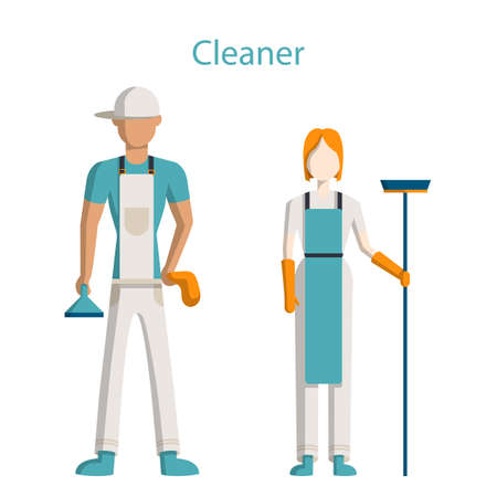 carpet cleaning service design: Cleaning service staff. Isolated figures of man and woman in uniform with equipment standing on white background. Illustration