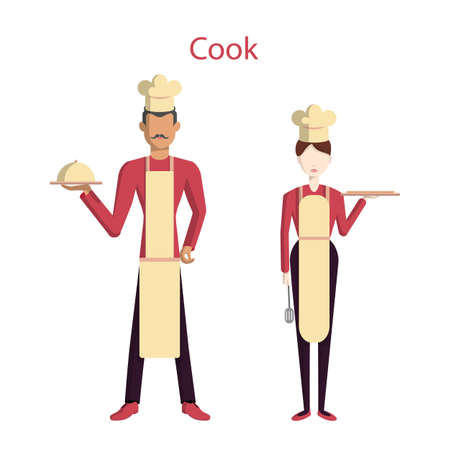 Cooking service staff. Isolated figures of man and woman in uniform with equipment standing on white background.