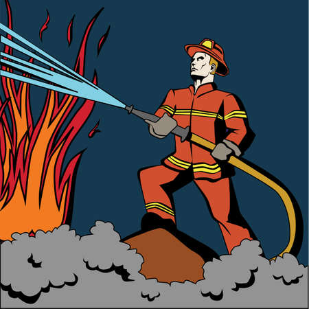 Pop art firefighter. Retro fireman in red uniform and helmet spraying water on flame. Firefighting with hose. Illustration