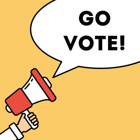 responsibility survey: Go vote concept. Hand with megaphone on orange background with speech bubble. Presidential campaign. Illustration