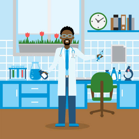 african american male: Doctor in the lab. Funny smiling african american male doctor or scientist in the medical lab. Chemistry cabinet. Illustration