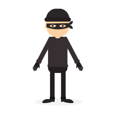 Isolated criminal person on white background. Cartoon robber or thief with black outfit and mask. Illustration