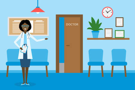qualify: Doctor in waiting room. Beautiful smiling african american woman in white standing in waiting room. Hospital interior with chairs and health care information.