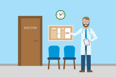 waiting room: Doctor in waiting room. Handsome smiling man in white standing in waiting room. Hospital interior with chairs and health care information. Illustration