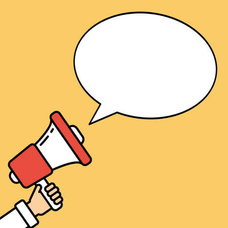 local elections: Go vote concept. Hand with megaphone on bright orange background with speech bubble. Presidential campaign.