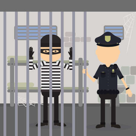 punishment: Thief in jail. Police officer and robber in the police station. Crime and punishment.