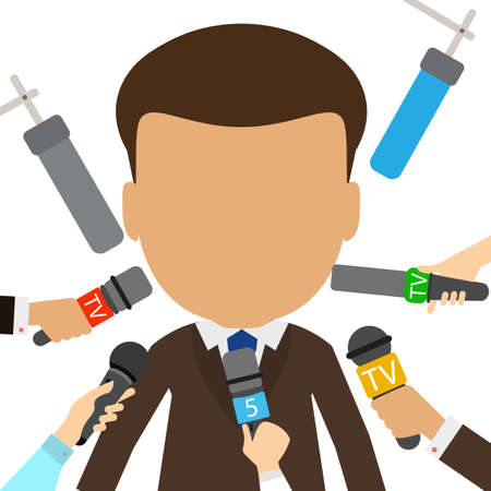 Isolated tv presenter giving interview to many journalists on white background. Journalist or reporter on television or radio.