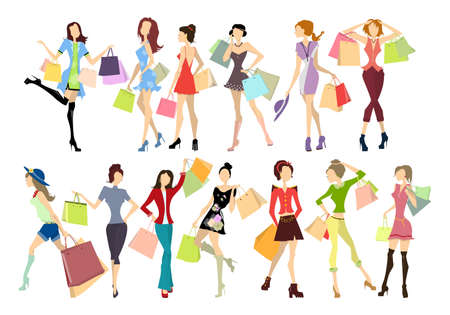 Shopping women set. Elegant, young and slim women in different outfits with colorful shopping bags on white background. Stock Illustratie