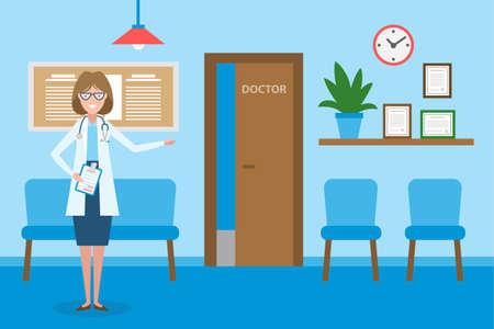 Docteur en salle d'attente. Handsome femme souriante en blanc debout dans la salle d'attente. intérieur de l'hôpital avec des chaises et des renseignements sur les soins de santé.