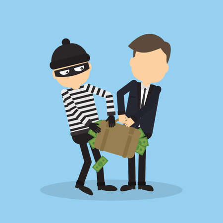 office theft: Thief stealing money from businessman. Robber in black mask holding the bag of money.