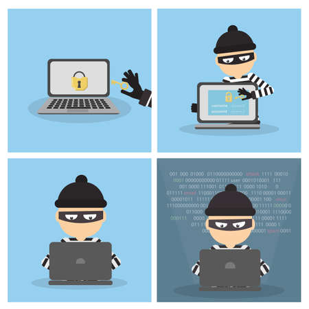 Criminal hacker set. Funny cartoon thief in black mask stealing information from laptop. Concept of fraud, cyber crime.