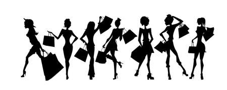 siluetas de mujeres: sillhouettes Compras de conjunto. sillhouettes negras de las mujeres con bolsas de la compra sobre fondo blanco. Las mujeres elegantes, jóvenes y delgados.