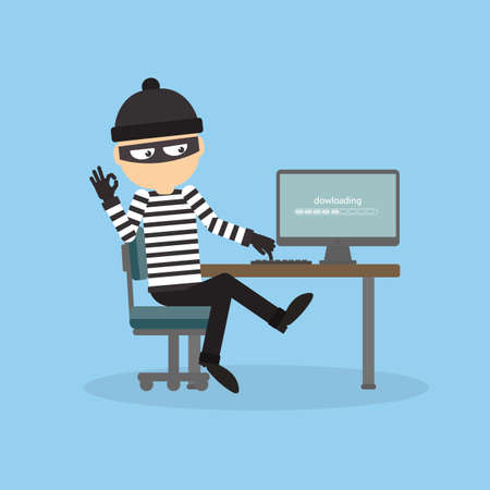 Robber at the office. Bad thief downloading information from computer. Man in the black mask and striped outfit. Illustration