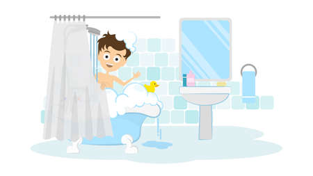 awkward: Surprised man in the bathroom. Awkward situation. Man washing in the shower with foam and bubbles. Illustration