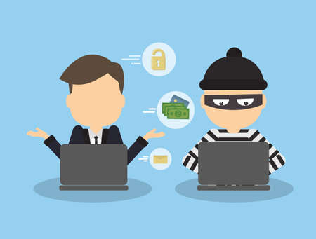 robbers: Money hacking concept. Thief stealing money and information from laptop of businessman.