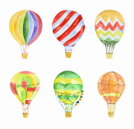 Watercolor hot air balloons set on white background. Beautiful and colorful balloons for decoration for holidays. Concept of travelling.