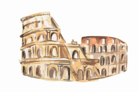 Isolated watercolor coliseum on white background. Symbol of Rome. Famous historical building.