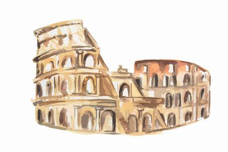Isolierte Aquarell Kolosseums auf weißem Hintergrund. Symbol von Rom. Berühmte historische Gebäude.