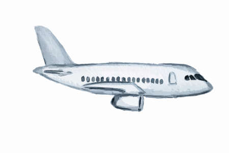 Isolated watercolor plane on white background. Concept of vacation, business trip and more.