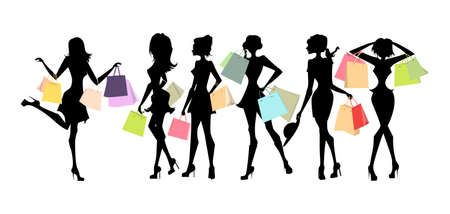fashion shopping: Shopping sillhouettes set. Black sillhouettes of women with colorful shopping bags on white background. Elegant, young and slim women.