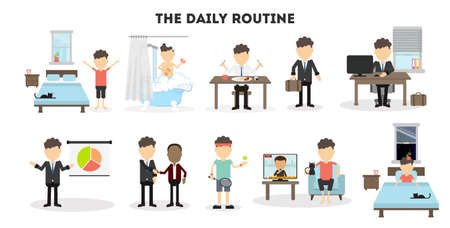Businessman daily routine. Life schedule of a businessman from morning till night. Sleep, eating, working and activities.