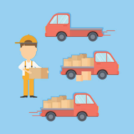 cargo service: Delivery truck set with courier and boxes. Cargo service.