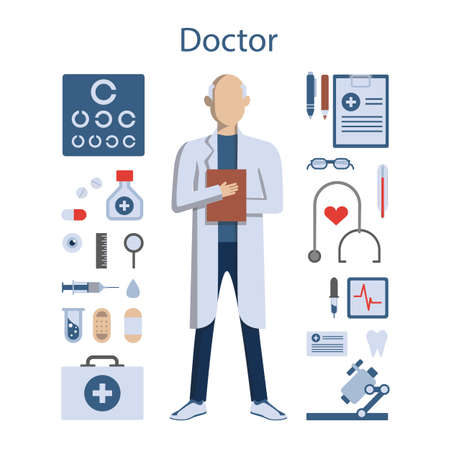 whites: Isolated professional male doctor on white background. Doctor in whites with all the tools and equipment as stethoscope, medicine and more. Illustration