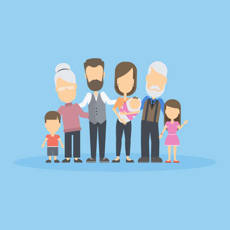 family isolated: Isolated happy family on blue background. All members of the family like parents, grandparents and children. Illustration