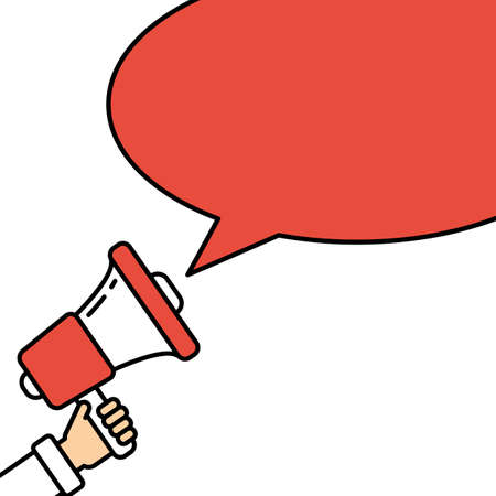 Go vote concept. Hand with megaphone on white background with red speech bubble. Presidential campaign. Illustration