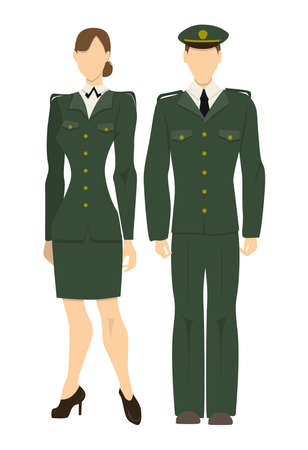 officers: Isolated professional military officers on white background. Male and female officers in uniform. People in army or security service.