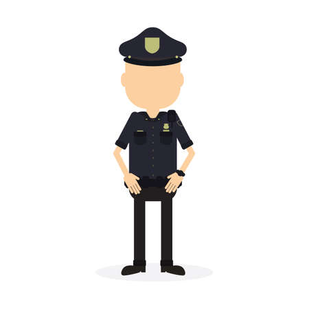 security guard man: Isolated police officer on white background. Security guard. Policeman in the uniform.