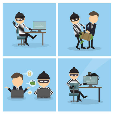 stealing: Criminal hacker set. Funny cartoon thief in black mask stealing information from laptop. Concept of fraud, cyber crime. Money stealing.