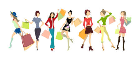 lady shopping: Shopping women set. Elegant, young and slim women in different outfits with colorful shopping bags on white background. Illustration