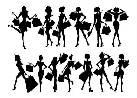 fashion shopping: Shopping sillhouettes set. Black sillhouettes of women with shopping bags on white background. Elegant, young and slim women.