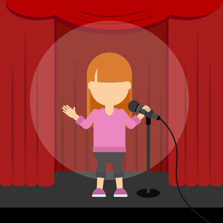 Stand up comedy. Female presenter and comedian standing at the scene with red curtains and spotlight.