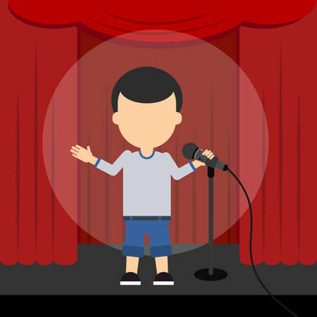 comedian: Stand up comedy. Male presenter and comedian standing at the scene with red curtains and spotlight.