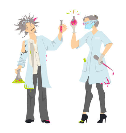 whites: Isolated mad scientists on white background. Female and male professors in whites with laboratory equipment.