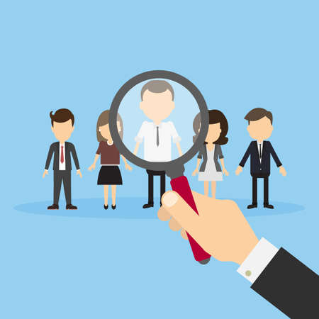 find staff: Hiring staff concept. Hand with magnifying glass finding and recruiting new worker. Illustration