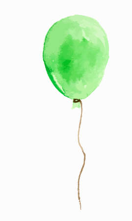 Isolated watercolor balloon on white background. Beautiful and colorful green balloon for decoration for holidays.