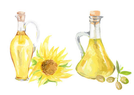 Watercolor sunflower oil bottles with sunflower on white background. Healthy and useful oil for frying and dressing.