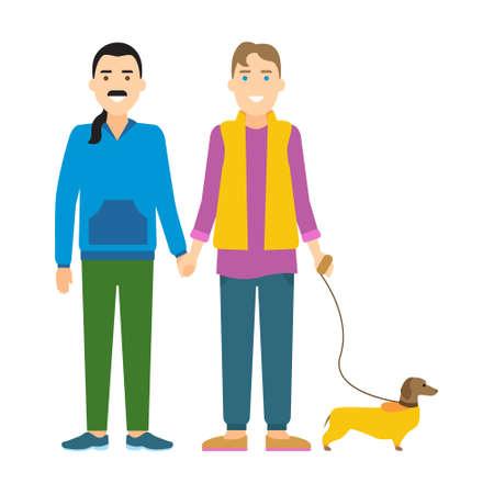 Pareja gay con el perro. Dos hombres homosexuales aislados tomados de la mano y de pie con un perro sobre fondo blanco. Foto de archivo - 66025537