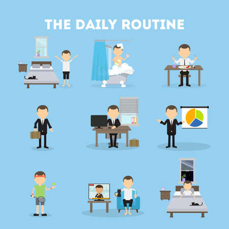 morning routine: The daily routine. Life schedule of a man from morning till night. Sleep, eating, working and activities.