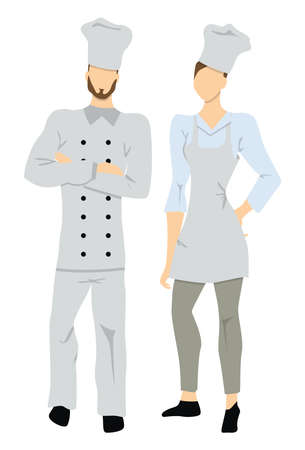 abilities: Isolated professional chefs on white background. Male and Female chefs in white uniform and chef hats.