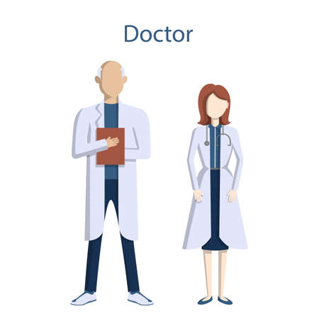 whites: Isolated professional doctors. Male and Female doctors in whites with stethoscope. Illustration