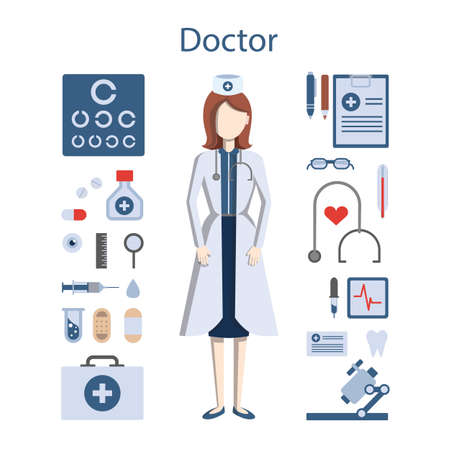 whites: Isolated professional female doctor on white background. Doctor in whites with all the tools and equipment as stethoscope, medicine and more.