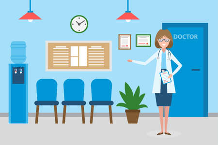 qualify: Doctor in waiting room. Beautiful smiling woman in white standing in waiting room. Hospital interior with chairs and health care information.